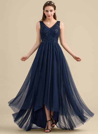 A-Line/Princess V-neck Asymmetrical Tulle Lace Bridesmaid Dress With Sequins