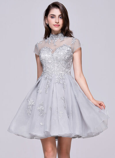 A-Linie/Princess-Linie High Neck Kurz/Mini Organza Tüll Ballkleid mit Applikationen Spitze
