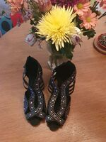Women's Leatherette Latin With Rhinestone Dance Shoes (053139655)