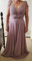 A-Line V-neck Floor-Length Chiffon Evening Dress With Lace Beading (017235873)