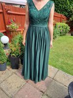 A-Line V-neck Floor-Length Chiffon Lace Prom Dresses With Beading Sequins Split Front Pockets (272261485)