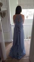 A-Line/Princess Scoop Neck Sweep Train Chiffon Lace Bridesmaid Dress With Ruffle Bow(s) (266183744)