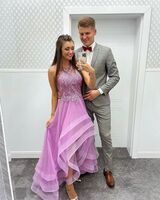 A-Line Scoop Neck Asymmetrical Tulle Prom Dresses With Lace Beading Sequins (018220225)