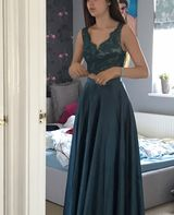A-Line V-neck Floor-Length Satin Prom Dresses With Split Front (018187196)