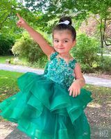 Ball-Gown/Princess Knee-length Flower Girl Dress - Tulle/Lace/Sequined Sleeveless Scoop Neck (010211916)