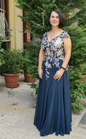 A-Line V-neck Floor-Length Chiffon Lace Mother of the Bride Dress With Split Front (008164059)