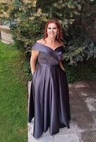 A-Line Off-the-Shoulder Floor-Length Satin Bridesmaid Dress With Pockets (266262004)