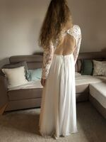 A-Line Scoop Neck Floor-Length Chiffon Lace Wedding Dress With Sequins (002234905)