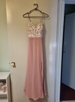 A-Line V-neck Floor-Length Chiffon Lace Prom Dresses With Split Front (272261033)