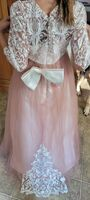 Ball-Gown/Princess Sweep Train Flower Girl Dress - Tulle/Lace Long Sleeves Scoop Neck With Beading/Bow(s) (010254247)