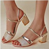 Women's PU Chunky Heel Peep Toe Pumps Sandals With Hollow-out (047259586)