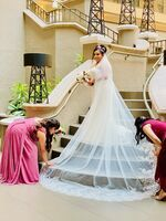 One-tier Lace Applique Edge Cathedral Bridal Veils With Lace (006183282)