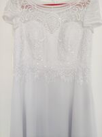 A-Line Scoop Neck Floor-Length Chiffon Lace Wedding Dress With Sequins (002250141)