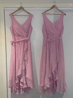 A-Line V-neck Asymmetrical Chiffon Prom Dresses With Ruffle Bow(s) (018186919)
