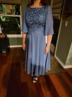 A-Line Scoop Neck Tea-Length Chiffon Lace Mother of the Bride Dress (008225572)