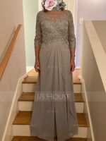 Scoop Neck Floor-Length Chiffon Lace Mother of the Bride Dress With Beading Sequins Cascading Ruffles (267239484)