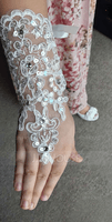Lace With Lace/Crystal Wrist Length Glove (198163170)