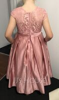Scoop Neck Knee-Length Satin Lace Junior Bridesmaid Dress With Pockets (268260270)
