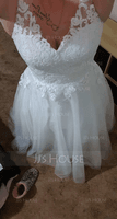 Ball-Gown/Princess V-neck Court Train Tulle Wedding Dress (002127247)