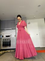 V-neck Floor-Length Chiffon Bridesmaid Dress With Split Front (266242579)