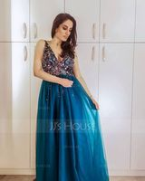 V-neck Floor-Length Tulle Prom Dresses With Beading Sequins Split Front (272194775)