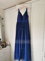 A-Line/Princess V-neck Floor-Length Chiffon Bridesmaid Dress With Ruffle (266176992)