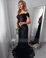 Trumpet/Mermaid Off-the-Shoulder Sweep Train Lace Evening Dress (271194527)
