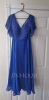 V-neck Ankle-Length Chiffon Lace Mother of the Bride Dress (267235282)