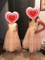 Tea-length Flower Girl Dress - Tulle Lace Sleeveless Scoop Neck With Flower(s) (269202187)