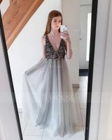 A-Line V-neck Floor-Length Tulle Prom Dresses With Beading Sequins Split Front (018163266)