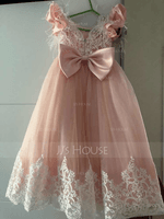 Ball-Gown/Princess Floor-length Flower Girl Dress - Lace Short Sleeves Scoop Neck With Ruffles/Feather/Bow(s) (010225305)