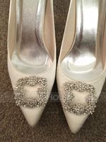 Women's Satin Stiletto Heel Closed Toe Pumps With Rhinestone (273177519)