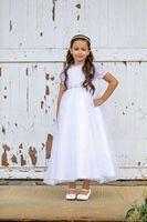 Ball Gown Ankle-length Flower Girl Dress - Tulle/Lace Short Sleeves Scoop Neck With Rhinestone (010153366)