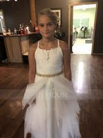 A-Line/Princess Scoop Neck Floor-Length Tulle Junior Bridesmaid Dress (009136441)