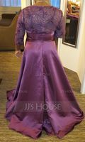 A-Line/Princess Scoop Neck Floor-Length Satin Evening Dress With Sequins (017153631)