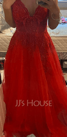 A-Line V-neck Floor-Length Tulle Prom Dresses With Beading Sequins (018224399)