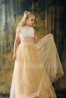 A-Line Scoop Neck Floor-Length Tulle Junior Bridesmaid Dress With Beading (009106853)