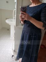 A-Line Scoop Neck Tea-Length Chiffon Lace Mother of the Bride Dress (008195390)