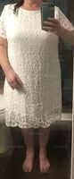 Lace Solid Round Neck Short Sleeves Midi Dresses (293250237)