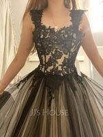 Ball-Gown/Princess Sweetheart Sweep Train Tulle Prom Dresses (018138375)