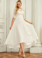 A-Line Scoop Neck Asymmetrical Chiffon Wedding Dress With Beading Sequins (002250147)