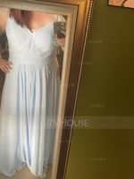 A-Line V-neck Floor-Length Chiffon Bridesmaid Dress With Ruffle Beading Sequins (266253112)