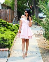 A-Line Off-the-Shoulder Short/Mini Stretch Crepe Prom Dresses With Cascading Ruffles (018230668)