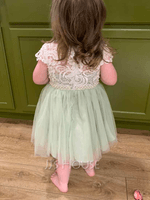 A-Line Knee-length Flower Girl Dress - Short Sleeves Scalloped Neck With Lace/Beading/Sequins (010236812)