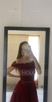 A-Line Off-the-Shoulder Asymmetrical Tulle Prom Dresses With Beading Sequins Bow(s) (018175946)