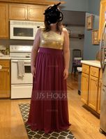 One-Shoulder Floor-Length Chiffon Sequined Prom Dresses (272210457)