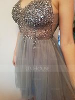 A-Line V-neck Knee-Length Tulle Prom Dresses With Sequins (018230669)