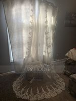 One-tier Lace Applique Edge Cathedral Bridal Veils With Applique (006108328)