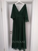 A-Line V-neck Floor-Length Chiffon Evening Dress With Ruffle Bow(s) Split Front (017208813)
