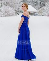 A-Line V-neck Floor-Length Chiffon Prom Dresses With Beading Sequins (018175909)